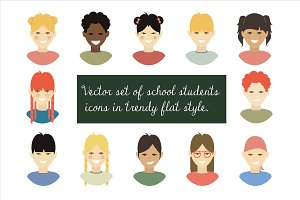 Vector set of school students icons
