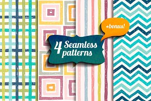 4 seamless drawn patterns. Vector