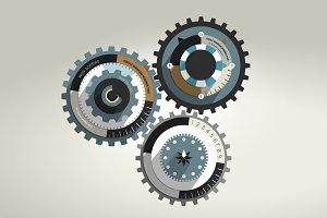 Cog wheel infographic.