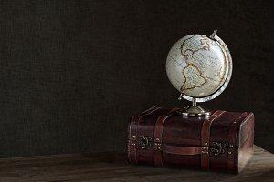 travel still life with globe