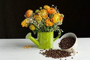 rustic still life flowers & coffee