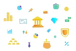 Polygonal vector money icons