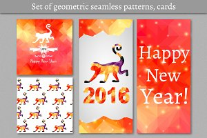New Year seamless patterns, cards