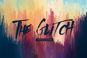 19 Glitch Backgrounds Vector