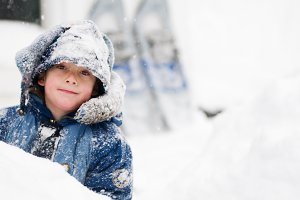 Boy outdoors on a snowy day