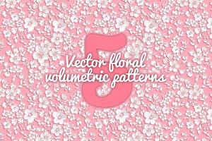 5 Vector floral volumetric patterns