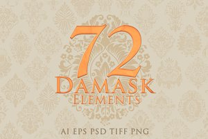 72 Hand-drawn Damask Elements