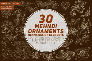 30 Mehndi Floral Ornaments Set#1