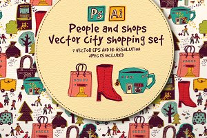 Vector city shopping set