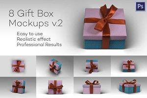 8 Photorealistic Gift Box Mockps v.2