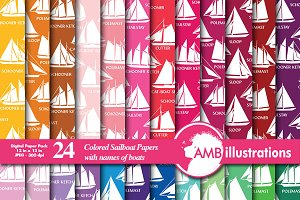 Digital Papers Sailboats, AMB-396