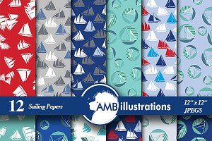 Digital Papers, Nautical, AMB-398