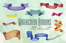 Watercolor Banners and Ribbons
