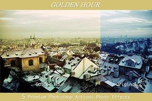 Golden Hour - 5 Premium PS Actions