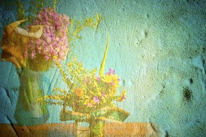 Wild flowers in grunge background
