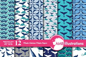 Digital Papers, Whale theme, AMB-399