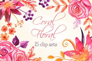Coral Floral watercolor clip art set