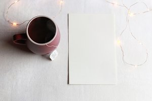 Simplicity - blank paper and tea