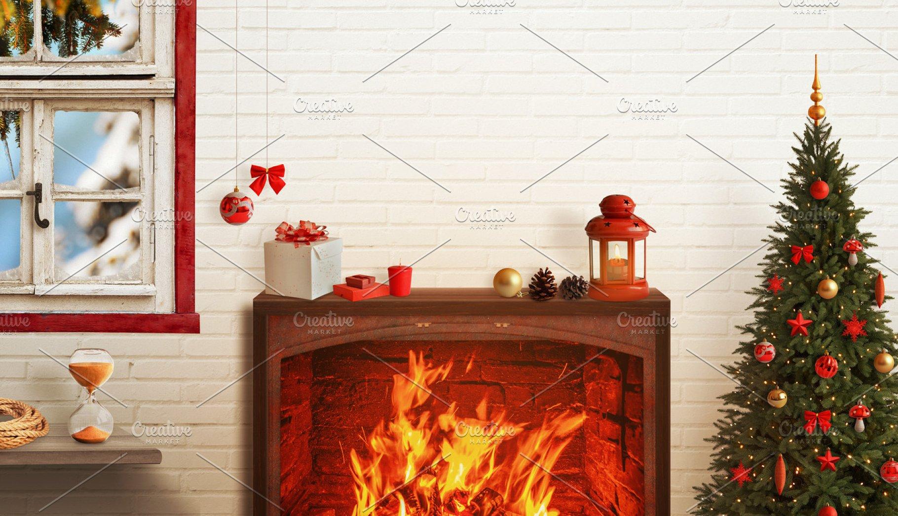 Christmas Fireplace Screen.Christmas Fireplace Scene