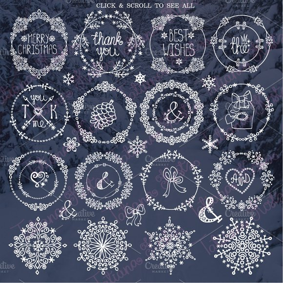 winter frames wreath snowlakes illustrations - Winter Picture Frames