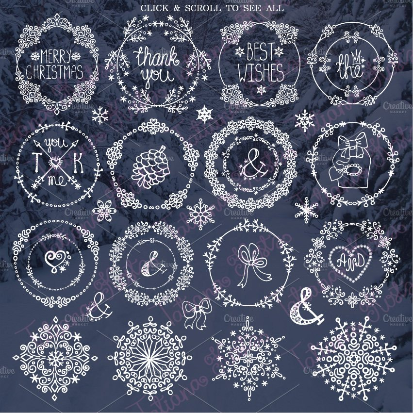 Winter frames ,wreath , snowlakes ~ Illustrations ~ Creative Market
