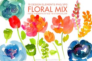 Watercolor Florals Abstract Flowers