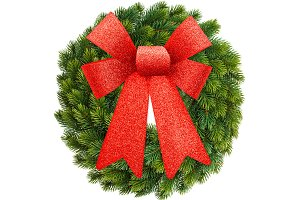 Christmas wreath with red ribbon bow