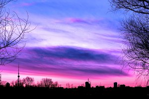 Surreal beautiful purple sunset