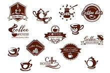 Coffee icons, banners and symbols