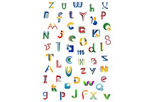 Colorful alphabet letters and fonts