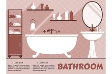 Bathroom interior flat design
