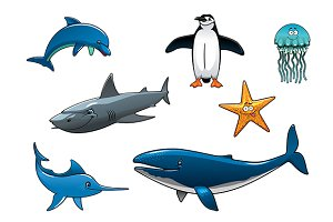 Marine wildlife colored animal chara
