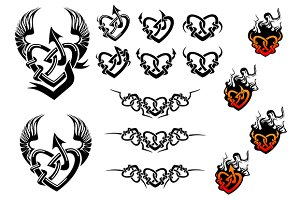 Entwined hearts tattoos with wings a