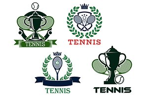 Set of tennis emblems or badges