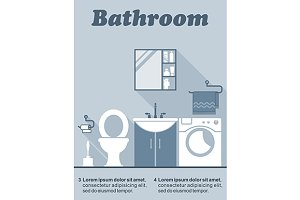 Bathroom flat interior decor infogra