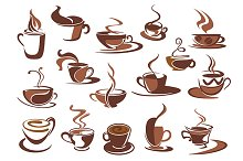 Hot coffee icons and symbols