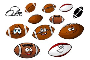 Cartoon footballs and rugby balls ch