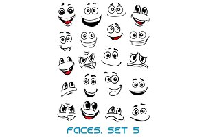 Cartoon faces with different express
