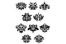 Black damask floral design elements
