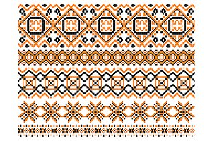 Geometric embroidery borders and fra