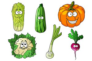 Happy colorful fresh cartoon vegetab