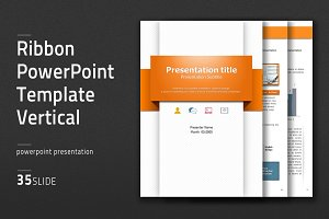 Ribbon PowerPoint Template Vertical