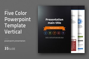 Five Color Vertical PPT Template