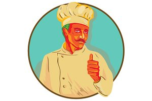 Chef With Mustache Thumbs Up Circle