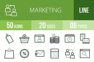 50 Marketing Line Green&Black Icons