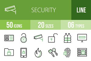 50 Security Line Green & Black Icons