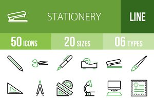 50 Stationery Line Green&Black Icons