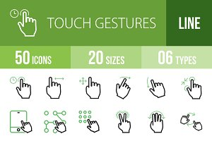 50 Touch Gesture Green & Black Icons
