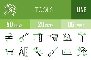 50 Tools Line Green & Black Icons
