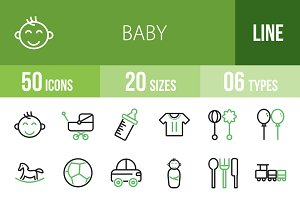 50 Baby Line Green & Black Icons